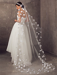 One-tier Cathedral Wedding Veil With Satin Flowers