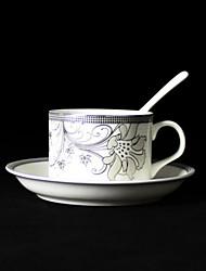 Silver Flowers Coffee Mug,Porcelain 5oz