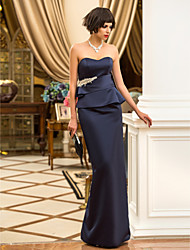 Formal Evening / Military Ball Dress - Dark Navy Plus Sizes / Petite Sheath/Column Sweetheart Floor-length Satin
