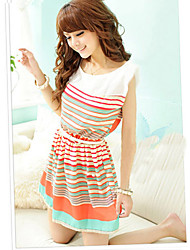 Kvinnors Lovely Bowknot Colorful Dress