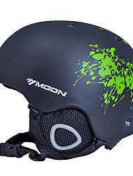 LUA Ciclismo preto e verde Flor PVC / EPS Luz Ski / Snowboard Helmet