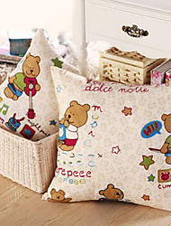 Animal Print Brown Bears Playing Music Pillow With Insert