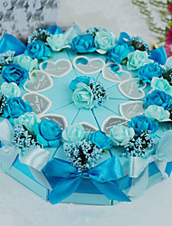 Blue Pyramid Cake Favor Box with Flower and Bow - Set of 10