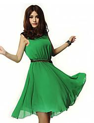 Ailuoer Irregular Chiffon Sleeveless Dress (Green)