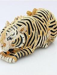 Hand Beaded  Stylish Rhinestone Gold Tiger Evening Clutch Bags Diamond Clutch