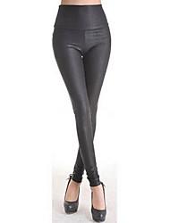 imitación de cuero legging negro de las mujeres