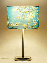 Prunus Pattern Table Lamps, 1 Light, Country Stainless Steel Fabric Painting