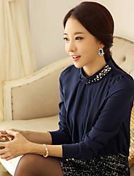 Jinxin mousseline de soie de diamant maigre Blouse à manches longues (bleu)