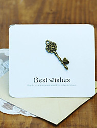 White Card Paper Greeting Card with Metal Key Decorated - Set of 2