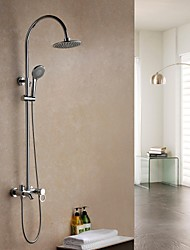 Contemporary Wall Mounted Rain Shower with  Ceramic Valve Single Handle Three Holes for  Chrome , Shower Faucet