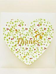 Foglie Cuore Thank You Card - Set di 12