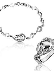 Элегантный сплава олова с платиновым напылением Браслет и кольцо Установить