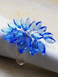 Crystal Floral Napkin Ring, Acrylic, 4.5cm, Set of 12