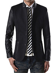 Men's Color Block Casual Coat,Cotton Long Sleeve-Black / Blue / Gray
