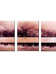 Hand Painted Oil Painting Abstract Pink with Stretched Frame Set of 3