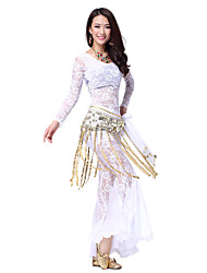 Dancewear Lace & Chiffon Belly Dance Outfits With Tassel Belt(More Colors,Top & Pants)