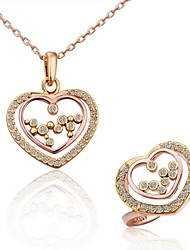 Women's Fashion Double Heart-shaped (Necklace&Rings) Jewelry Set