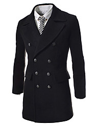 Men's Solid Casual Coat,Others Long Sleeve-Black / Blue / Gray