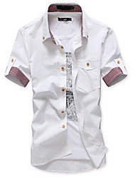 Men's Grace Splicing Short Sleeve Shirt (Acc Not Included,Neckline Label And Button Color Random)