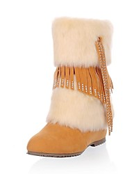cunhas das mulheres meados de bezerro botas com franjas de strass decoração (mais cores)