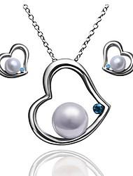 Women's Heart-shaped Pearl (Necklace&Earrings) Jewelry Sets