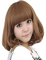 Capless Short Curly Hair Light Brown Synthetic Full Bang Wigs