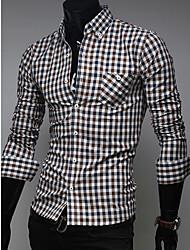 QN Men's England Unique Check Long Sleeve Shirt(Coffee)