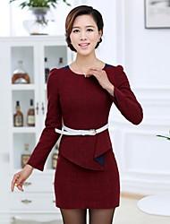 Primavera manga comprida de lã Vestido das mulheres
