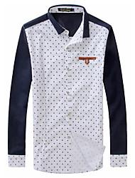 A & W Points de haute qualité shirt Homme de tempérament version coréenne Slim revers (Blanc)