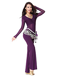 Dancewear Women's Nylon & Tulle Belly Dance Outfits With Beading Coin Belt (More Colors,Top & Pants)