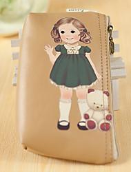 Cartoon Doll Pattern PU Leather Change Purse(Coffee,1PCS)