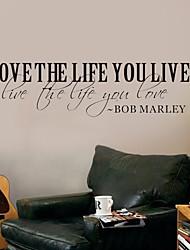 наклейки слова настенные люблю жизнь вы живете боб марли цитирует моющиеся наклейки на стены