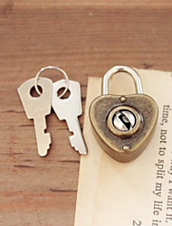 Heart Shaped Bronze Decorated Lock/Keychain