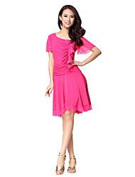 Dancewear Women's Polyester Pleated Tulle Beading Big Swing Latin Dance Dress(More Colors)