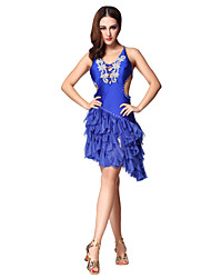 Dancewear Women's Sexy Sequined Split Front Straped Backless Polyester Latin Dance Dress(More Colors With Pads)
