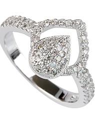 Fashion 925 Silver Plated Copper Zircon Ring