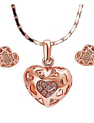 Women's 18K Rose Gold Heart-shaped (Necklace&Earrings) Jewelry Sets