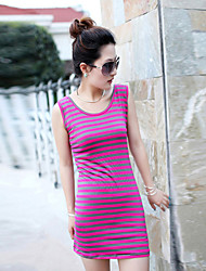 Q-CIEL manches Stripes Retour glands T-shirt (fuchsia)