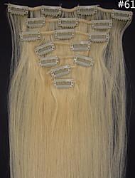 7pcs 15 pulgadas / set clip de indio en 75g pelo de calidad peluquería