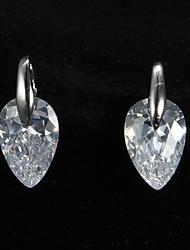 Stud Earrings Women's Platinum Earring Cubic Zirconia