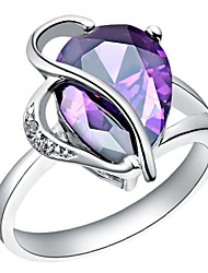 Fashion Women's Purple Platinum Plated Brass Statement Rings(1Pc)