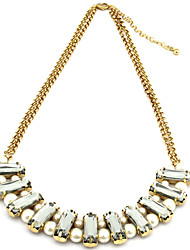 Elegant-Craft Graceful Gold Plated Sheer Gem And Bead Necklace