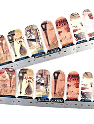 28PCS plein pointe Tour Nail Art Stickers muraux