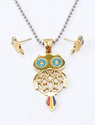 Ethnic Titanium Steel Necklaces Earrings Gemstone Jewelry Sets