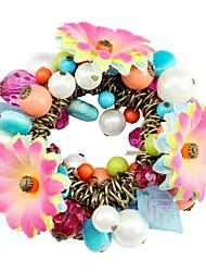 Moda Tecido Flor Acrílico Contas estiramento Pulseira
