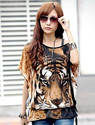 Women's Personality Domineering Tiger Tattoo Shirt