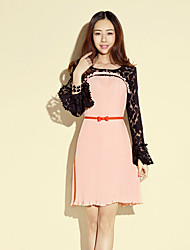CHERRYANNE Lace Chiffon Splicing Long Sleeve Dress