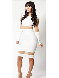 Women's Enticement Fashion Sexy Skinny See Thought White Long Sleeve Bodycon Night Party Clubwear Dresses