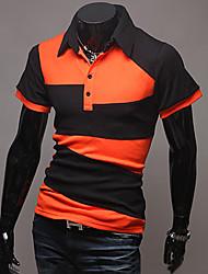 LiLuoKe Moda colore di contrasto All-Partita Manica Corta Polo (arancione)