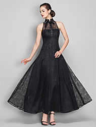 Homecoming Formal Evening/Military Ball Dress - Black Plus Sizes A-line High Neck Ankle-length Lace